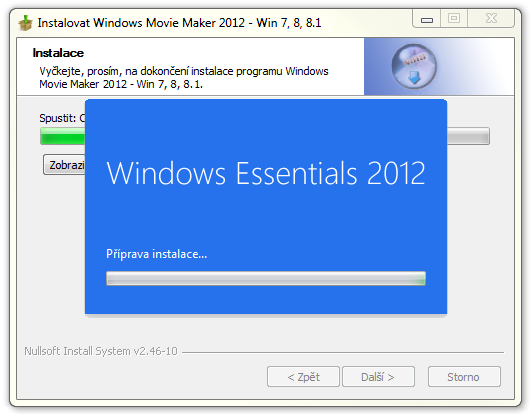 Instalace Windows Movie Maker