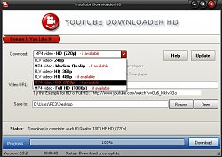 Výber kvalityYoutube Downloader HD